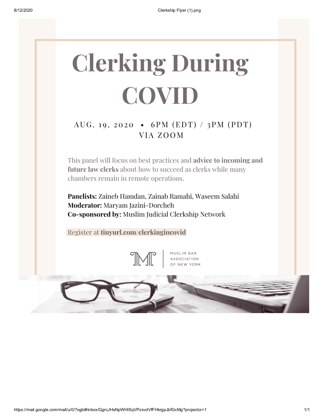 clerking during covid flyer 8.12.20 0